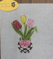 3 Tulips in Black and White Checkered Vase