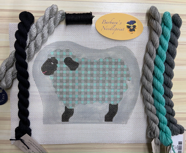 Ann's Sheep KIT with aqua and gray tiny plaid with a sparkly silver background