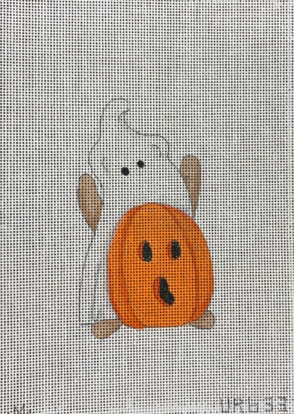 Mini Ghost Bear with Pumpkin