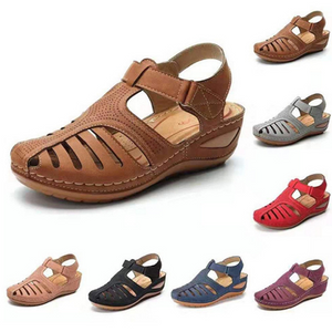 HOT SALE🔥🔥Retro hole shoes non-slip large size round toe wedge comfortable women sandals