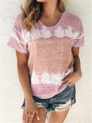 Loose round neck short sleeve printed T-shirt top