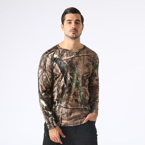 Camouflage round neck quick-drying long sleeves