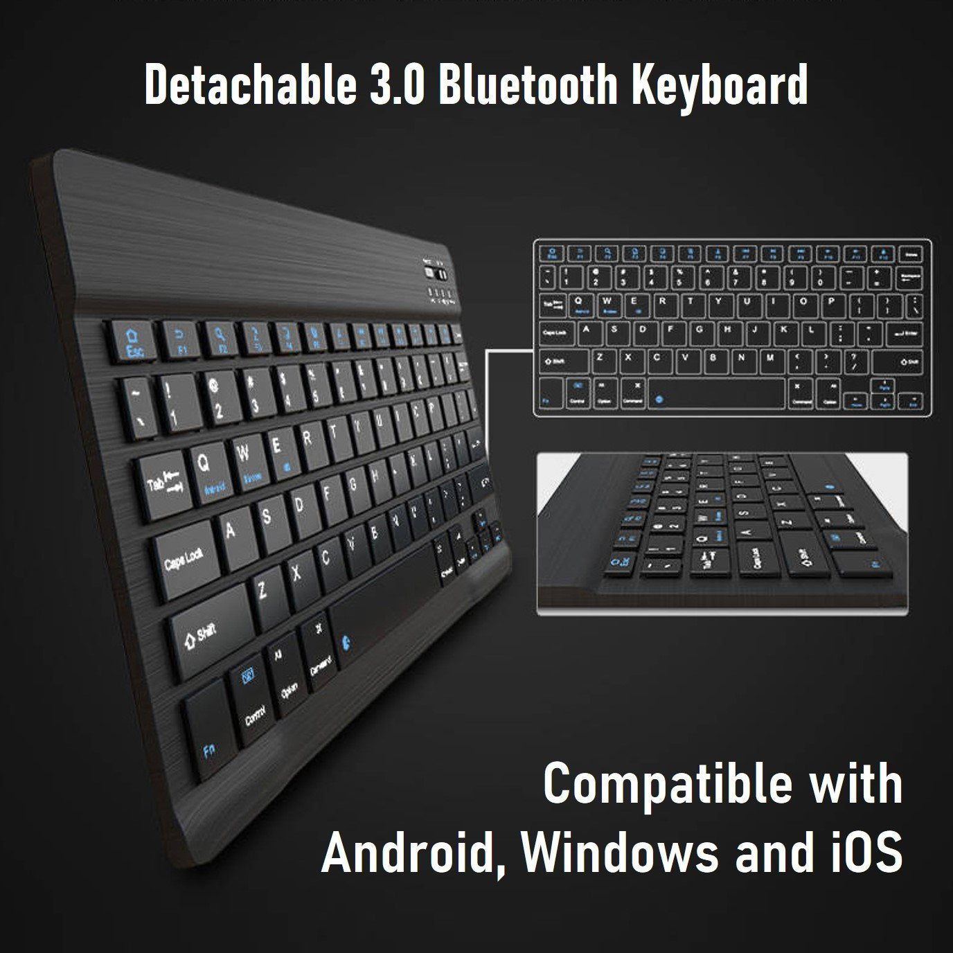 Wireless Bluetooth Keyboard With PU Leather Folio Stand Cover