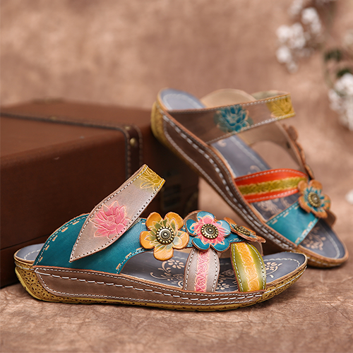 2020 printed wedge sandals