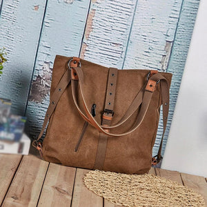 3 In 1 Vintage Extra Large Canvas Tote Backpack Shoulder Bag