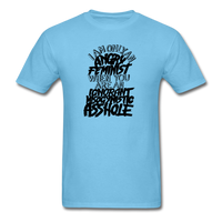 Angry Feminist Tee (men's fit) - aquatic blue