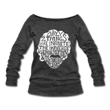 Einstein Quote (Women's Wideneck Sweatshirt) - heather black