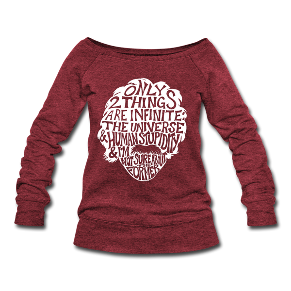 Einstein Quote (Women's Wideneck Sweatshirt) - cardinal triblend