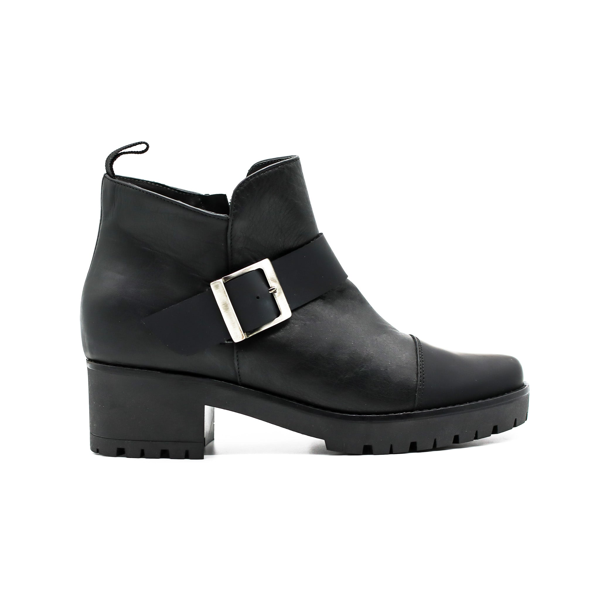 side buckle ankle booties