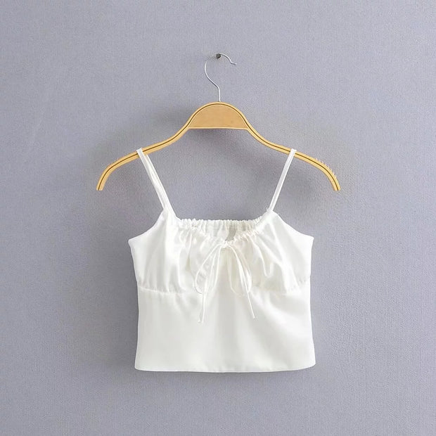 Priscilla Shirred Crop Top
