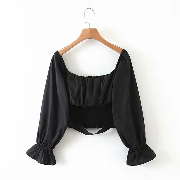 Paris Shirred Crop Top