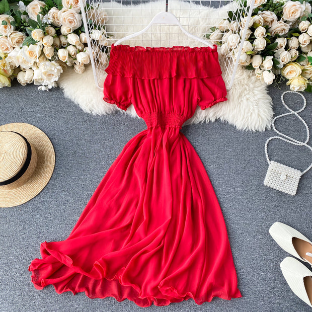 Janelle Off-Shoulder Shirred Dress