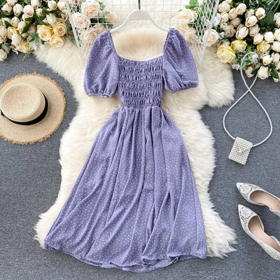 Lyra Shirred Puff Sleeve Dress