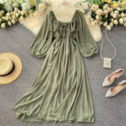Dream Shirred Puff Sleeve Dress