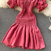 Sue Shirred Puff Sleeve Dress