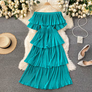 Jade Pleated Off-Shoulder Dress
