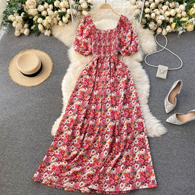 Abby Shirred Puff Sleeve Dress