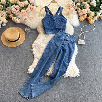 Angie Two Piece Denim Set