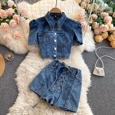 Claire Denim Two Piece Set