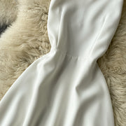 Ivory Bead Detail Open Back Dress