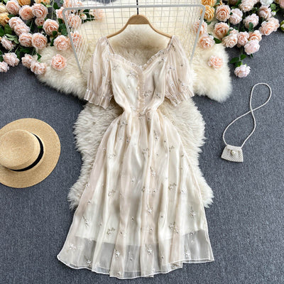 Serena Embroidered Puff Sleeve Dress