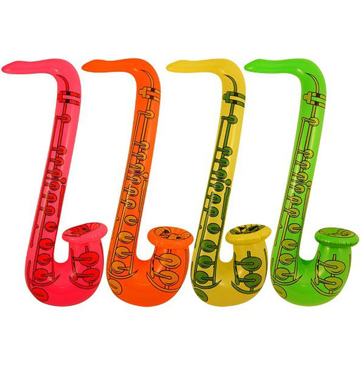 Inflatable Saxophone 4 Assorted Neon Colours (55cm)