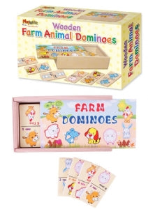 Wooden Farm Animal Dominoes 16x9cm
