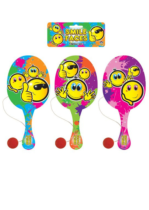 Smiley Face Wooden Paddle Bat and Ball Game