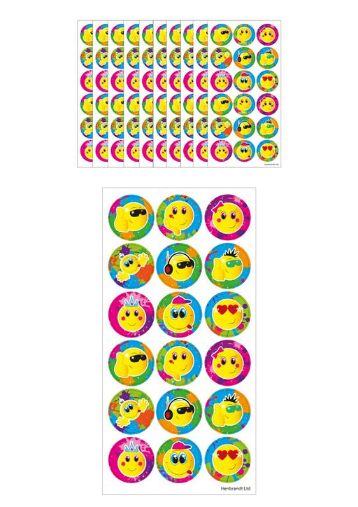 15 Large Smiley Face Sticker Sheets (18 stickers per sheet)