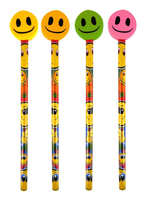 Smiley Face Pencils with Eraser Toppers (4 Assorted Colours)