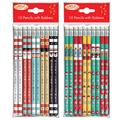 Xmas Pencils Pack of 10 With Rubbers