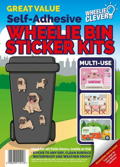 Pug Wheelie Bin Sticker Kit