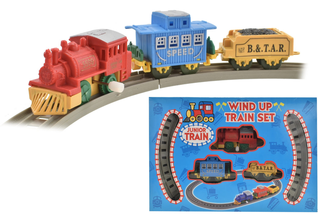 8pc Wind Up Plastic Train Set