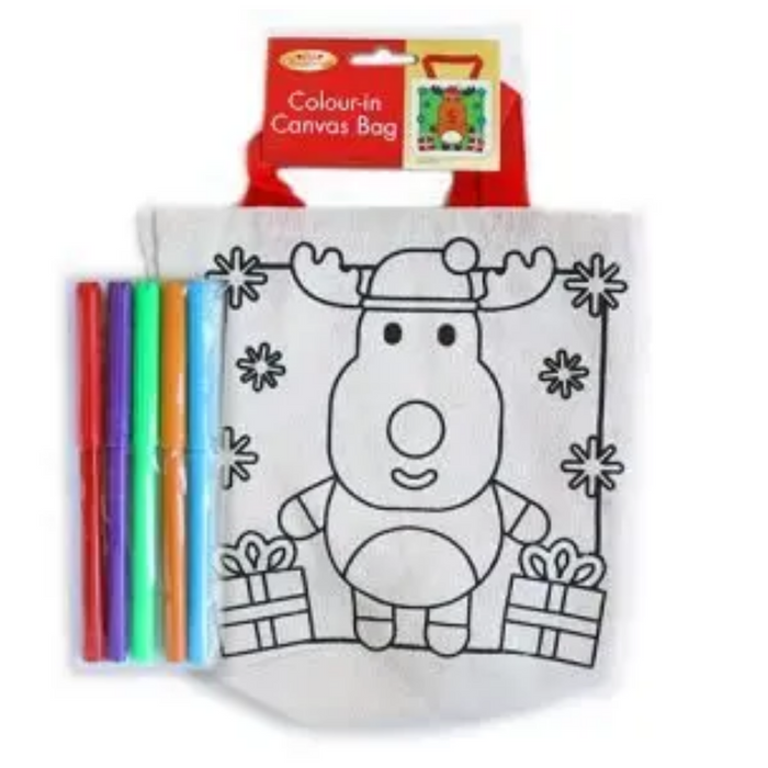 Christmas Colour in Canvas Reindeer Bag