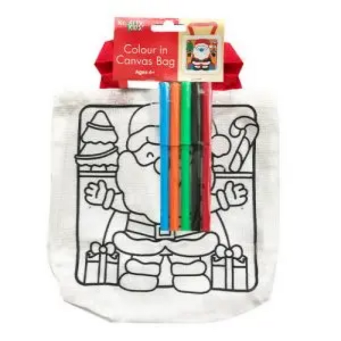Christmas Colour In Santa Canvas Bag