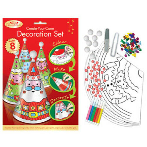 Christmas Make Your Own Cone Decorations 8 Pack