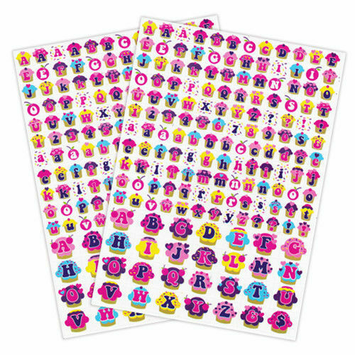 Cupcake Shaped Alphabet Stickers Two A4 Sheets