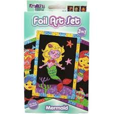 3 Pack Mermaid Foil Art Craft kit