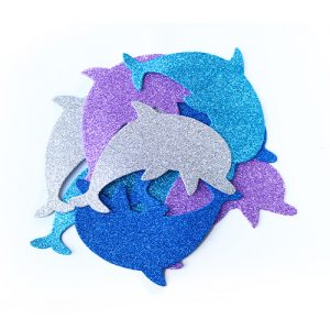 Dolphin Glitter Foam Shapes 8 Pack