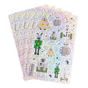 Robot Holographic Sticker Sheets x 4