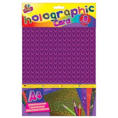 8 Pack Coloured Holographic Craft Boards
