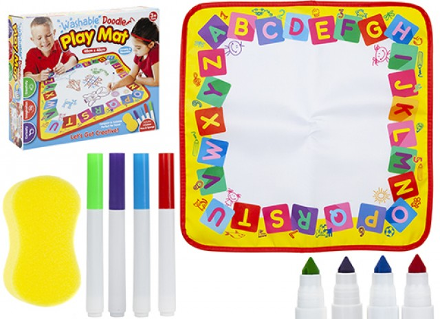 Washable Activity Play Mat With 4 Washable Marker Pens