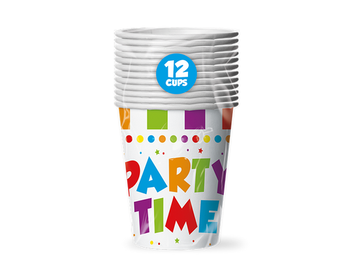 12 Pack Party Time Disposable Cups