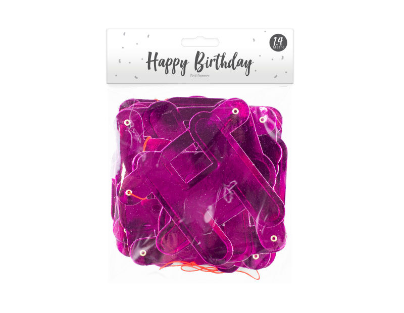 Happy Birthday Pink Foil Banner 1.4m