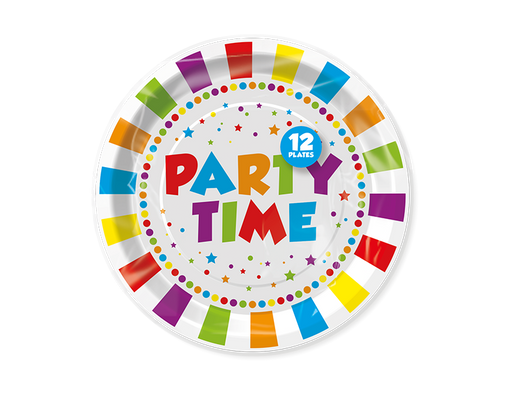 Party Time Paper Plates 12 Pack