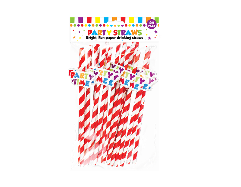 Party Time Paper Straws 20 Pack