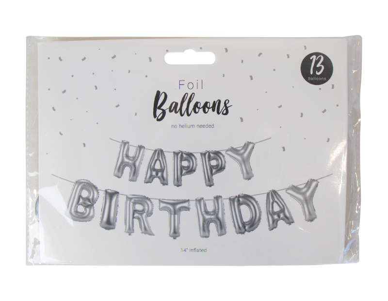 Happy Birthday Silver Foil Balloon Banner