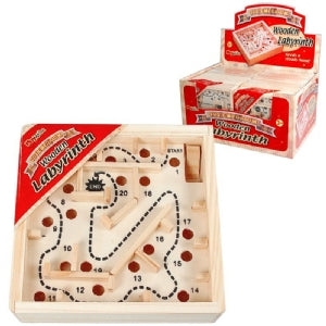 Wooden Labyrinth Maze Game 12x12cm