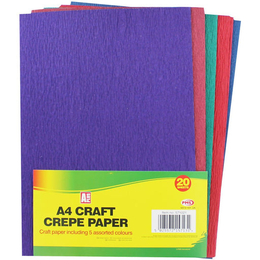20 Pack A4 Coloured Crepe Paper