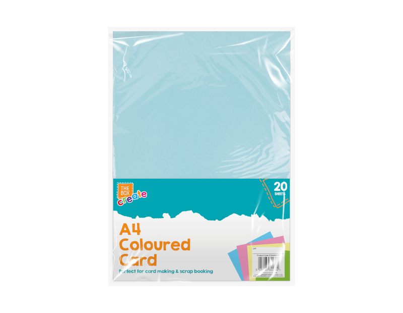 A4 Coloured Card 20 Pack